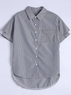 Pocket Button Up Striped Shirt - Black S