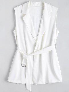 Long Belted Lapel Waistcoat - White Xl