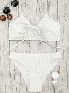 Eyelets Lace Up Bralette Bikini Set - White M