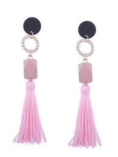 Tassel Pendant Faux Gem Long Earrings - Pink