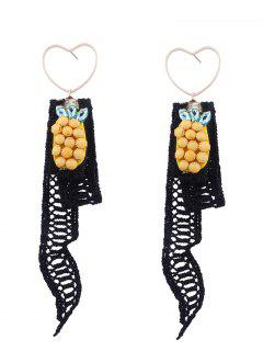 Lace Pineapple Pendant Heart Earrings - Black