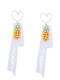 Lace Pineapple Pendant Heart Earrings - White