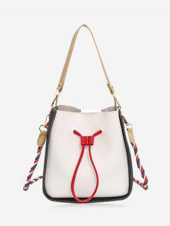 Color Block Drawstring Bucket Bag - Off-white