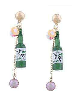 Wine Bottle Faux Pearl Pendant Earrings - Green