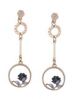 Flower Hoop Pendant Long Earrings - Black