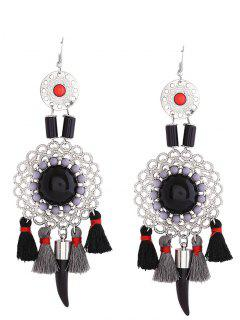 Hollow Flower Tassel Fish Hook Earrings - Black