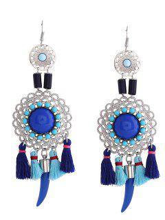 Hollow Flower Tassel Fish Hook Earrings - Blue