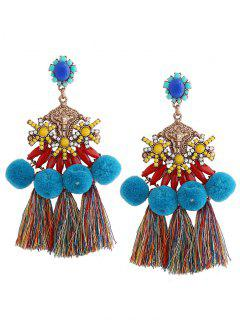 Pom Pom Tassel Pendant Earrings - Blue