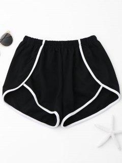 Contrast Trim Track Shorts - Black L