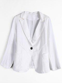 One Button Blazer With Pockets - White Xl