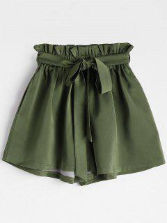 Smocked Belted High Waisted Shorts - Army Green