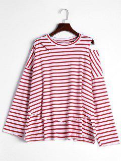 High Low Streifen Kaltes Schulter T-Shirt - Rot