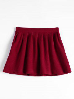 High Waist Pleated Flare Skirt - Deep Red L