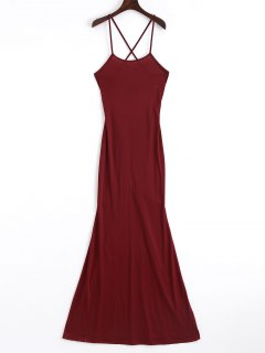Criss Cross Cut Out Maxi Dress - Wine Red M