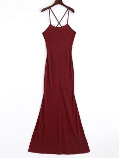 Robe Longue Découpée Croisée - Rouge Vineux  S