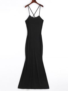 Criss Cross Cut Out Maxi Dress - Black S