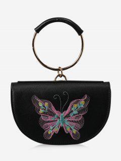 Metal Ring Embroidery Tote Bag - Black And Pink