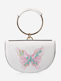 Metal Ring Embroidery Tote Bag - Pink And White