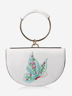 Metal Ring Embroidery Tote Bag - White And Green
