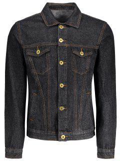 Button Down Pockets Denim Jacket - Black M