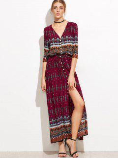 Slit Printed Button Up Maxi Dress - M