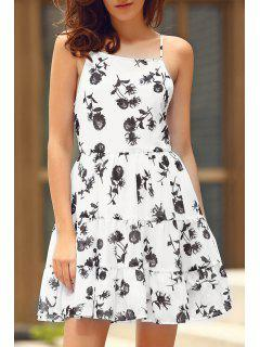 Floral Print Tiered Chiffon Swing Dress - White M