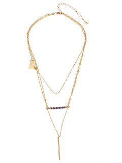 Layered Heart Beaded Bar Pendant Necklace - Golden
