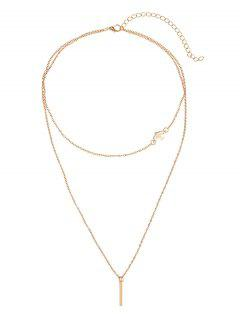 Bar Peace Dove Layered Pendant Necklace - Golden
