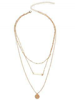 Round Bar Charm Layered Necklace - Golden
