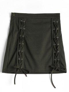 Lace Up High Waist Skirt - Army Green M
