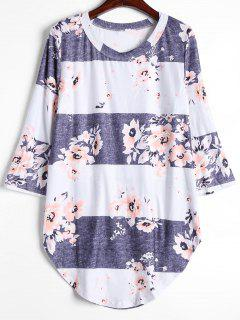 Camiseta Larga De La Flor Del Contraste - Gris Blanco L