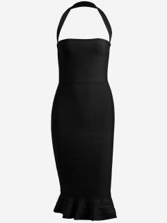 Halter Fitted Bandage Dress - Black L