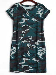 Round Collar Camouflage Shift Dress - Blackish Green Xl