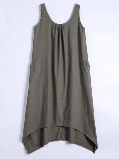 U Neck Sleeveless Asymmetric Dress - Army Green M