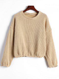 Drop Shoulder Plain Pullover Sweater - Khaki M