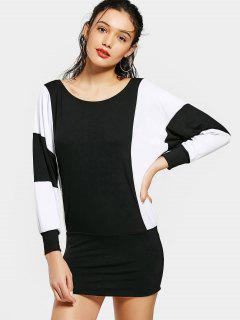 Contrast Dolman Sleeve Mini Dress - White And Black