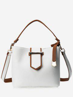 Colour Block Metal Embellished Tote Bag - White