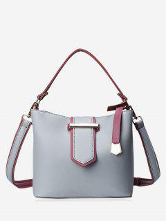 Colour Block Metal Embellished Tote Bag - Gray