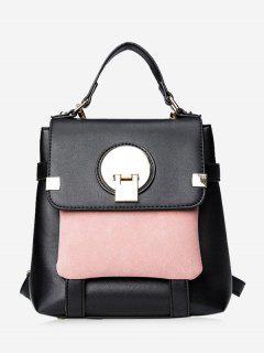 Color Block Metal Embellished Backpack - Black