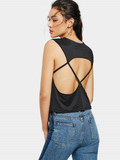 Open Back Plain Tank Top - Black Xl