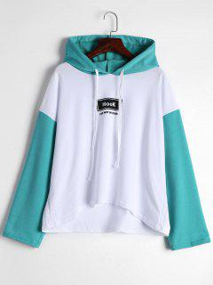 Drop Shoulder Contrast Letter Hoodie - Light Green S