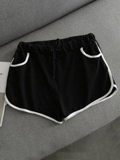 Contrast Trim Dolphin Shorts - Black
