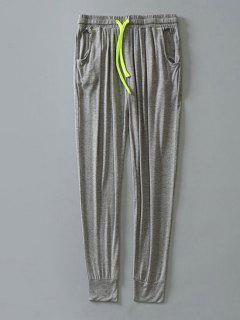 Pantalones De Contraste Con Cordón De Contraste - Gris Claro M