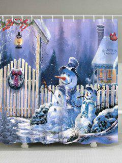 Merry Christmas Snowmen Print Waterproof Fabric Shower Curtain - W71 Inch * L79 Inch