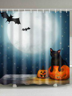 Impresión De La Noche De La Luna De Halloween Cortina De Ducha Impermeable De La Tela - W71pulgadas*l79pulgadas