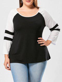 Plus Size Raglan Sleeve Two Tone Top - Black + White 4xl
