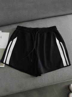 Side Striped Sports Shorts - Black M