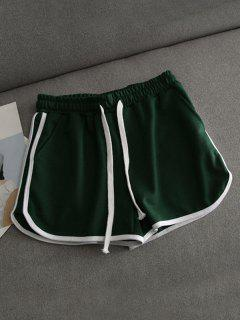 Contrast Trim Running Shorts - Green S