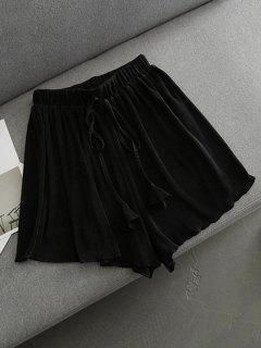 Pleated Cover-Up Shorts - Black