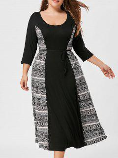 Print Insert Plus Size Shift Midi Dress - Black White 5xl